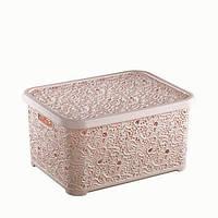 Корзина для хранения ажурная с крышкой 28л 44x33x23см (розовая пудра)