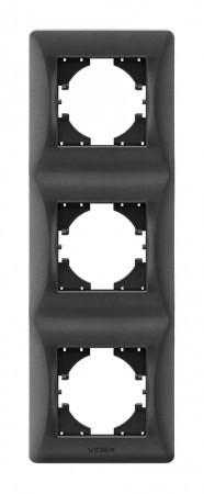 VIDEX BINERA Рамка черный графит 3 поста вертикальная (VF-BNFR3V-BG) (12/96)