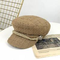 Женский картуз, кепи, фуражка из драпа бежевый, фото 1