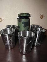 Набор стаканов в камуфляжном футляре 5 штук, высота 8 см., фото 1