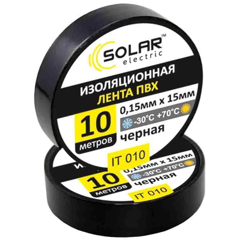 Изолента черная 10м Solar IT010