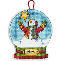 """70-08904 Набір для вишивання хрестом DIMENSIONS Believe Snowglobe Christmas Ornament """"Різдвяна прикраса - Віра Снігова куля"""""""