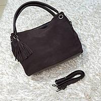 Жіноча шоколадна сумочка з натуральної шкіри