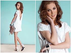 Вечернее платье с пайетками (100% оригинал MOHITO, цвет белый, размер XS) + бесплатная доставка