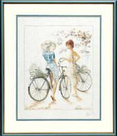 """PN-0007949 Набор для вышивки крестом LanArte Girls on Bicycle """"Девушки на велосипедах"""""""