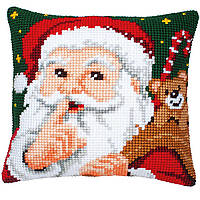 """PN-0008518 Набор для вышивания крестом (подушка) Vervaco Santa Hush """"Тише!"""""""