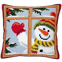 """PN-0008519 Набор для вышивания крестом (подушка) Vervaco Happy Snowman """"Веселый снеговик"""""""