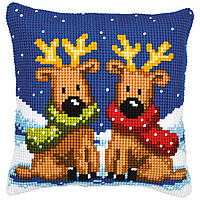 """PN-0008726 Набор для вышивания крестом (подушка) Vervaco Reindeer Twins """"Олени"""""""