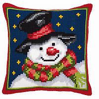 """PN-0008727 Набор для вышивания крестом (подушка) Vervaco Snowman """"Снеговик"""""""