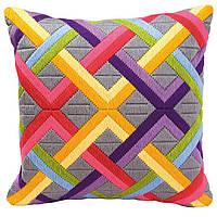 """PN-0010865 Набор для вышивания подушки Vervaco Varicolored Circles """"Цветные диагонали на сером"""""""