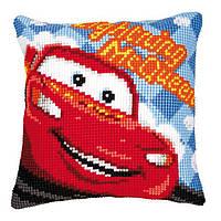 """PN-0014609 Набор для вышивания крестом (подушка) Vervaco Disney """"Lightning McQueen"""""""
