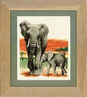 """PN-0021576 Набор для вышивки крестом Vervaco Elephants Journey """"Слоновый поход"""""""