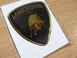 Наклейка s вставка в эмблему Lamborghini 44х49х1,6мм силиконовая эмблема на авто Ламборджини хром, фото 3
