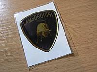 Наклейка s вставка в эмблему Lamborghini 44х49х1,6мм силиконовая эмблема на авто Ламборджини хром