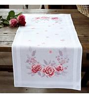 """PN-0145974 Набор для вышивания крестом (дорожка на стол) Vervaco Pink Roses """"Розовые розы"""""""