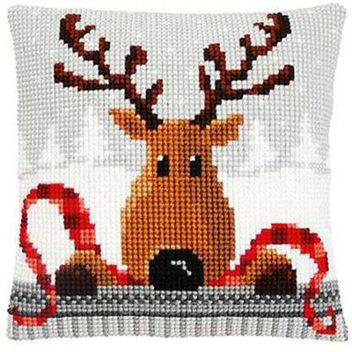 """PN-0148051 Набір для вишивання хрестом (подушка) Vervaco Reindeer with a Red Scarf """"Олень в червоному шарфі I"""""""