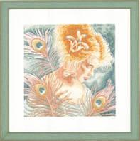 "PN-0148264 Набор для вышивки крестом LanArte Young Woman with Peacock Feathers ""Девушка с перьями павлина"""