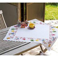 """PN-0148593 Набір для вишивання хрестом (скатертина) Vervaco Birds and birdhouses """"Пташки і шпаківні"""""""