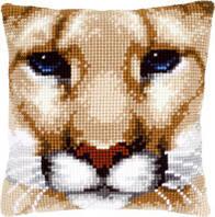 """PN-0149921 Набір для вишивання хрестом (подушка) Vervaco Wild Cat """"Пума"""""""