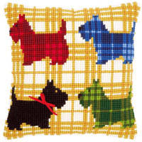 "PN-0150016 Набор для вышивания крестом (подушка) Vervaco Colourful doggies with bow ""Красочные Скотти"""