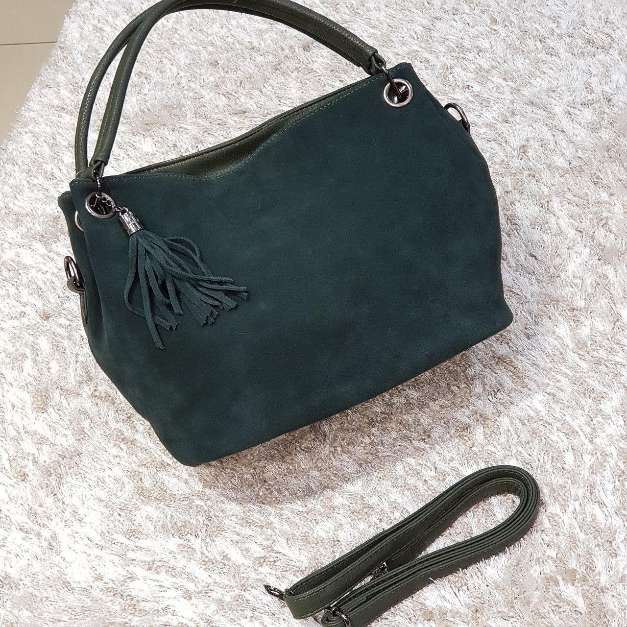 Женская зеленая сумочка из натуральной кожи