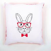 """PN-0155964 Набор для вышивания гладью (подушка) Vervaco Rabbit with Pink Glasses """"Кролик в розовых очках"""""""