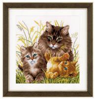 """PN-0156114 Набор для вышивки крестом Vervaco Cat family """"Кошачья семья"""""""