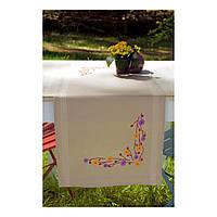 """PN-0156933 Набор для вышивания гладью (дорожка на стол) Vervaco Playful Flowers """"Забавные цветы"""""""