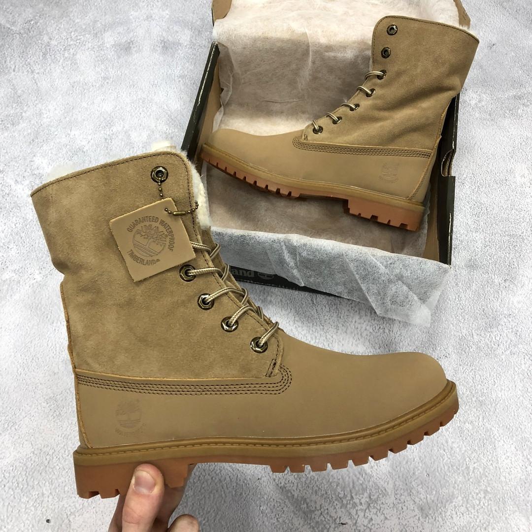 Женские высокие зимние ботинки Timberland Boot коричневые топ реплика -  Интернет-магазин обуви и одежды 9d481774c80