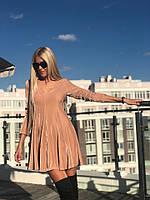 Бархатное беж платье с пышной юбкой 1236, фото 1