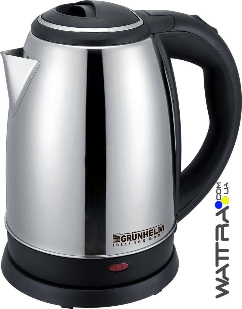 ⭐ Чайник электрический (1,8 л) GRUNHELM EKS-2018 (металл) 2000 Вт, дисковый электрочайник