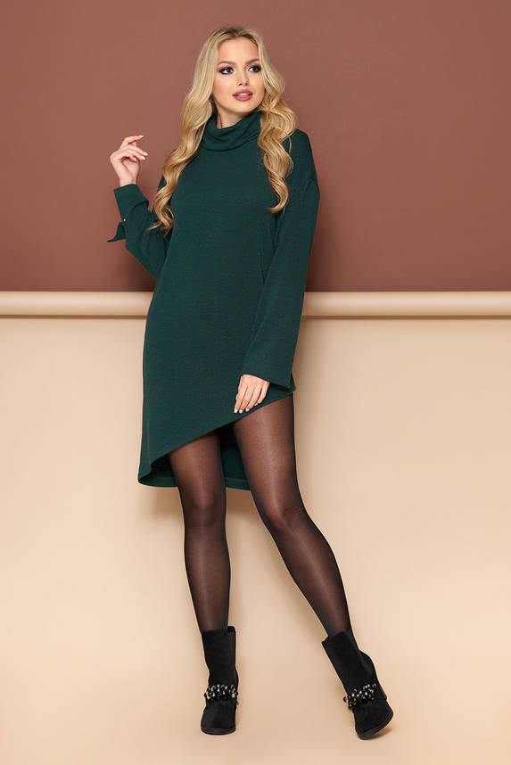 Теплая туника платье зеленая, фото 2