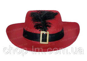 Шляпа мушкетера красная (карнавальная), фото 2
