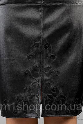 Женская юбка с экокожей больших размеров (1256 svt), фото 2