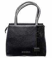 Женская сумка-саквояж  из кожзаменителя со вставкой под кожу рептилии