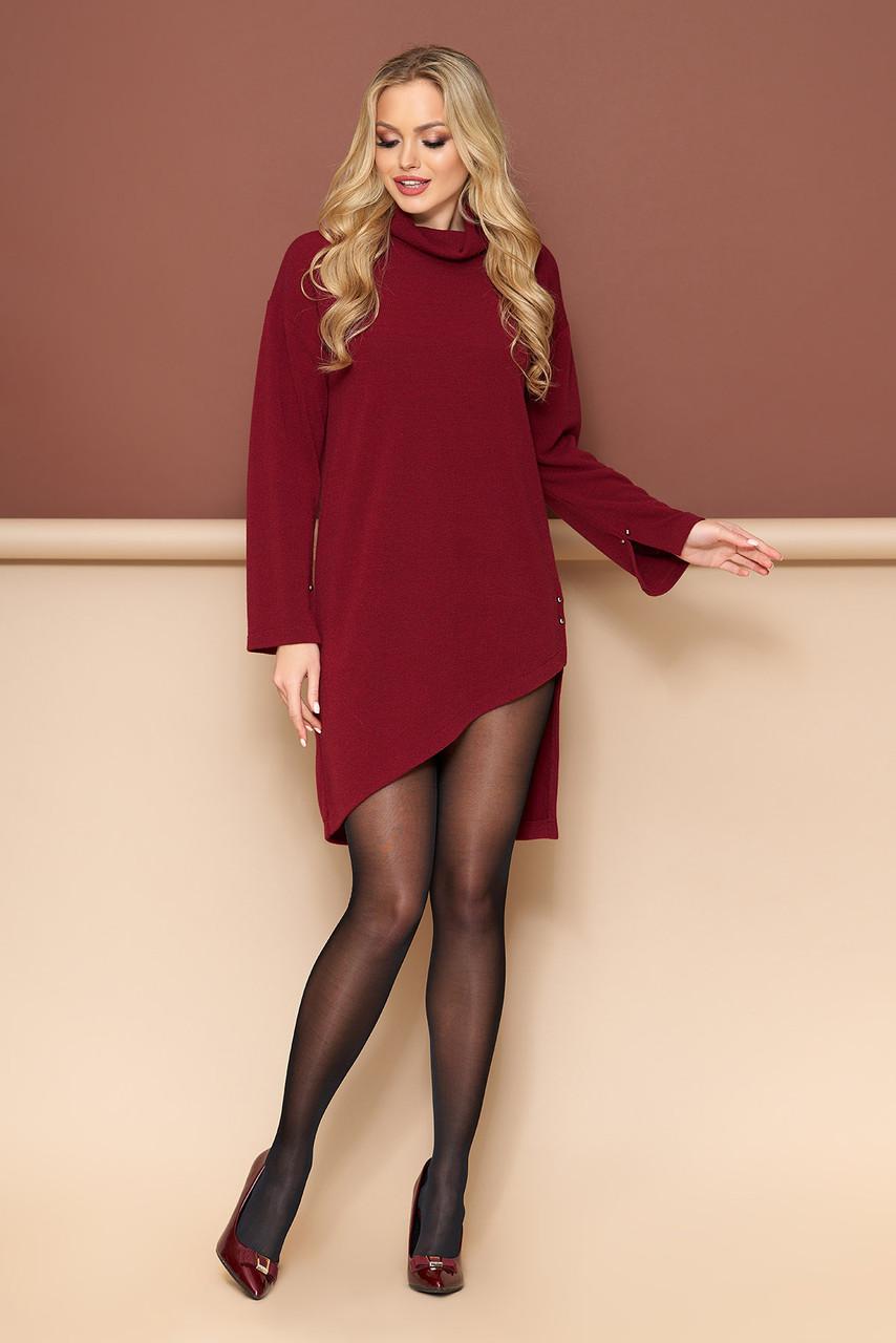 Осенняя туника платье бордовая