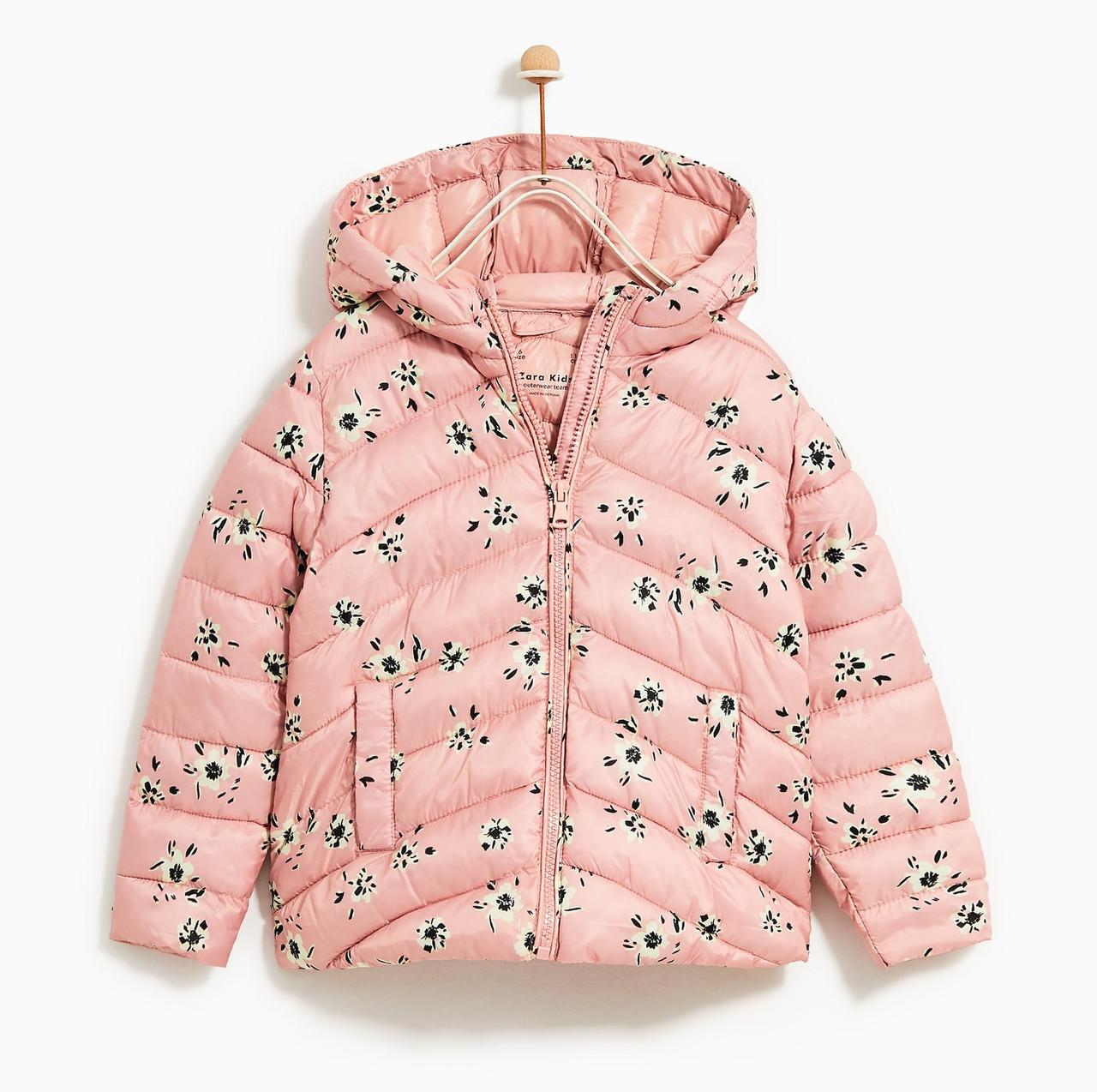 Розовая куртка с цветами для девочки Zara Испания Размер 122, 134