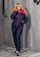 Женский теплый костюм штаны+куртка плащевка на 150-ом синтепоне+подкладка овчина батал размеры:50,52,54
