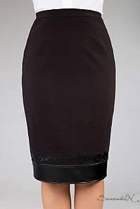 Женская юбка с кожаной оборкой внизу (1257 svt)