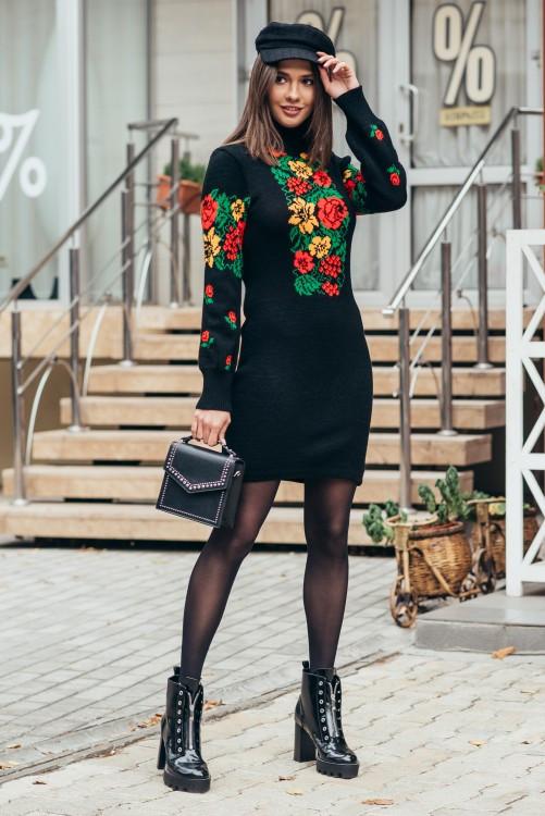 Вязаное платье Рябинка красный 44-50