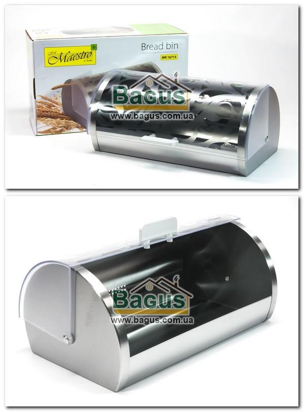 Хлебница из нержавейки 36см с пластиковой крышкой Maestro MR-1671S