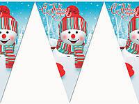 "Флажки гирлянды  на новый год ""Снеговик"""