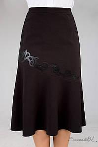 Женская расклешенная черная юбка больших размеров (1258 svt)