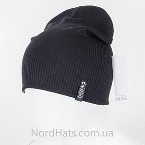 Трикотажная удлиненная двойная шапка (Черный)