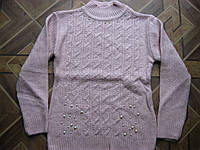 Детский  красивый вязаный свитер- туника Бусинка для девочки  5-6, 7-8, 9-10  лет Турция