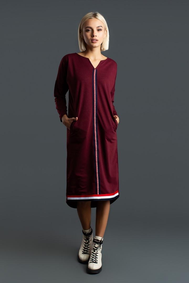 86a5ec41a5a Платье туника женское из двунити с отделкой из ленты в принт 42-44 ...