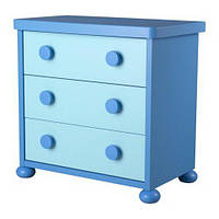 ИКЕА МАММУТ Комод с 3 ящика синий/голубой (б/у), фото 1