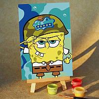 Картина на холсте Sponge Bob Служу Родине (MC010) 20х30 см
