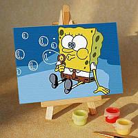 Картина на холсте Sponge Bob и пузыри (MC011) 20х30 см