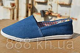 Женские мокасины джинсовые синие